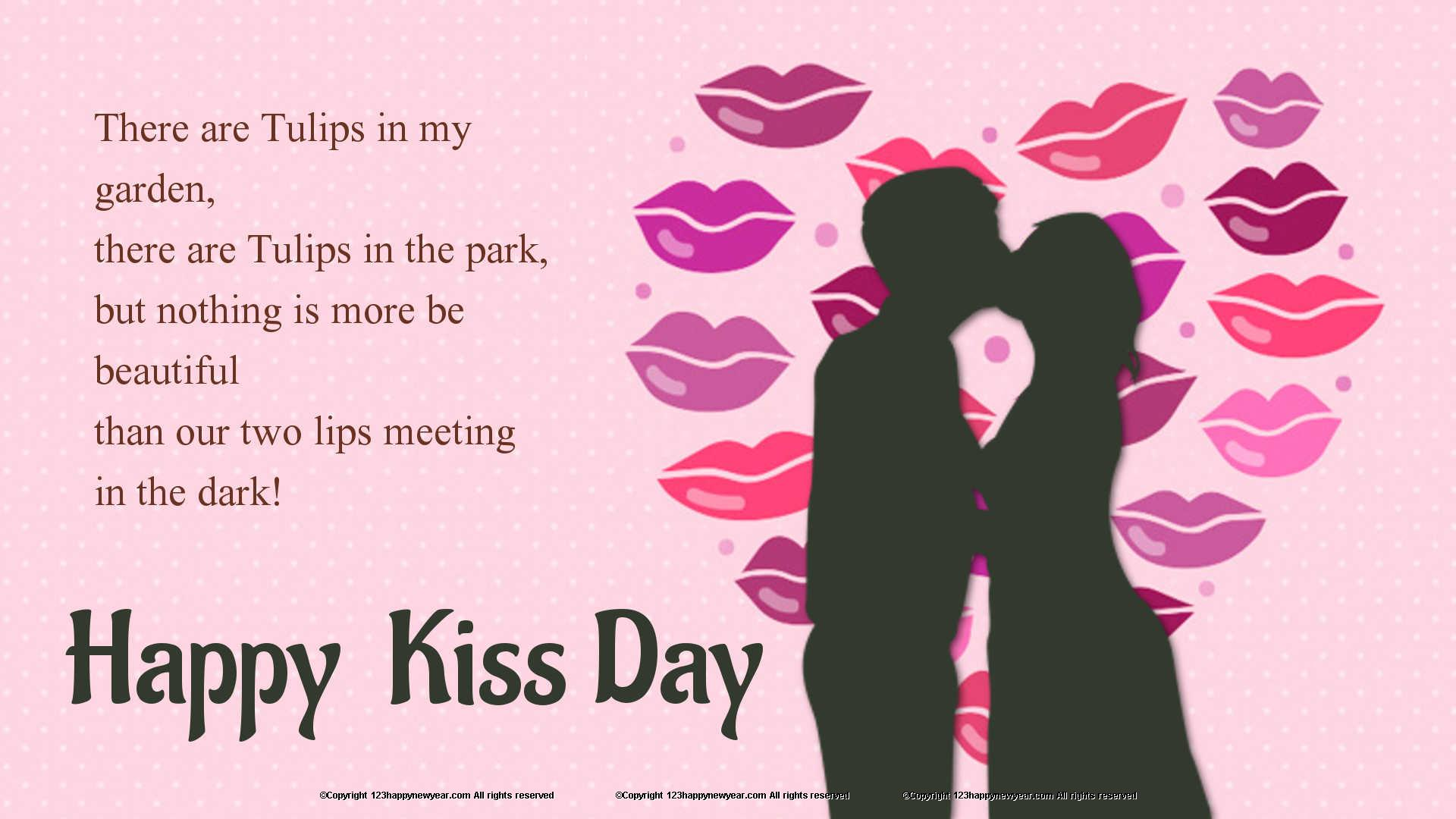 Happy Kiss Day Wallpaper With Quote